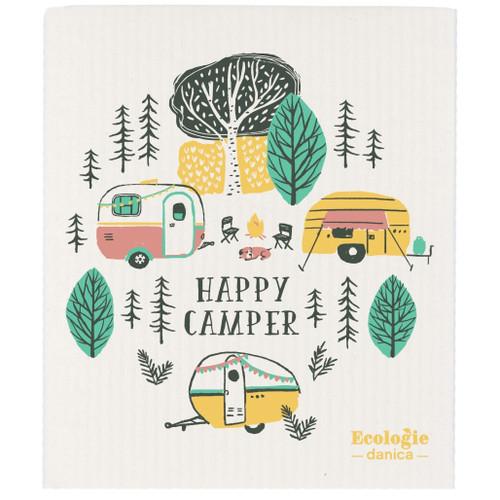 Swedish Dishcloth - Happy Camper, 6.5 x 8-in