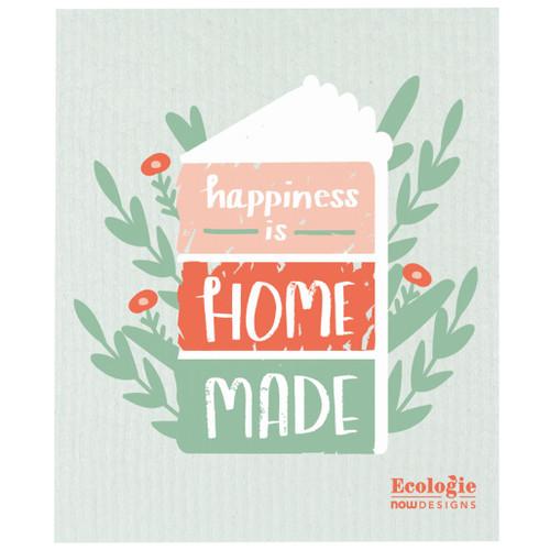 Swedish Dishcloth - Happiness is Homemade, 6.5 x 8-in