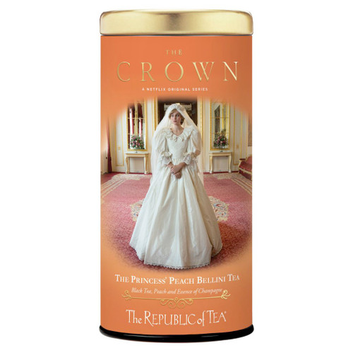 The Crown: Princess - Peach Bellini Tea Tin, 36 Tea Bags