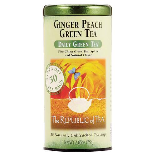 Ginger Peach Green Tea - Tin, 50 Tea Bags