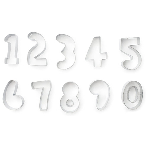 Numbers Cookie Cutter Set - Stainless Steel, 10 Piece