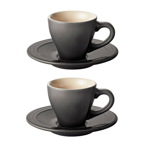 Oyster Espresso Cup & Saucer Set of 2 - Stoneware