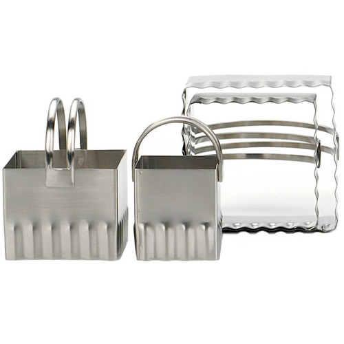 Square Cookie Cutters - Rippled Edge, Set of 4