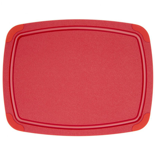 Red Poly Cutting Board - Non-Slip Corners, 14.5x11.25-in