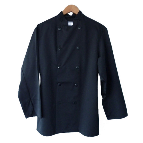Chef Coat with Black Plastic Buttons - Black, XLarge