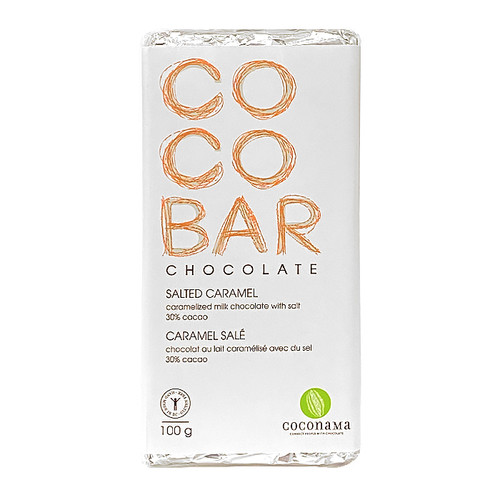 COCOBAR Salted Caramel Milk Chocolate Bar, 100g