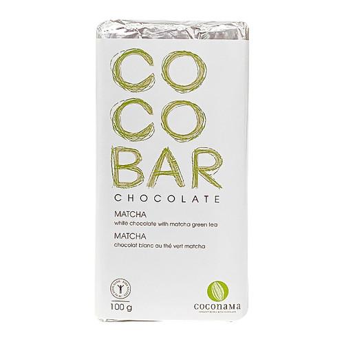 COCOBAR Matcha White Chocolate Bar, 100g