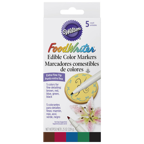 FoodWriter - Extra Fine Tip Edible Markers, Box of 5