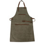 Canvas Apron with Leather Trim, Green