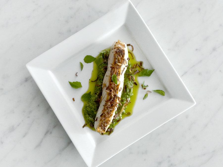 Wild Pacific Halibut with Spinach Basil Pesto