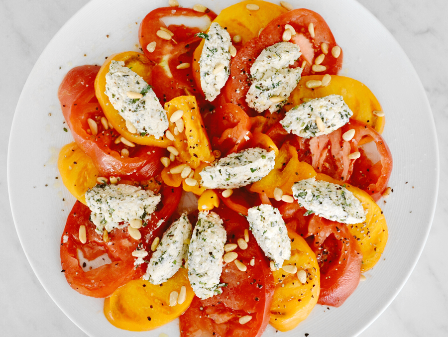 Heirloom Tomatoes with Herbed Ricotta