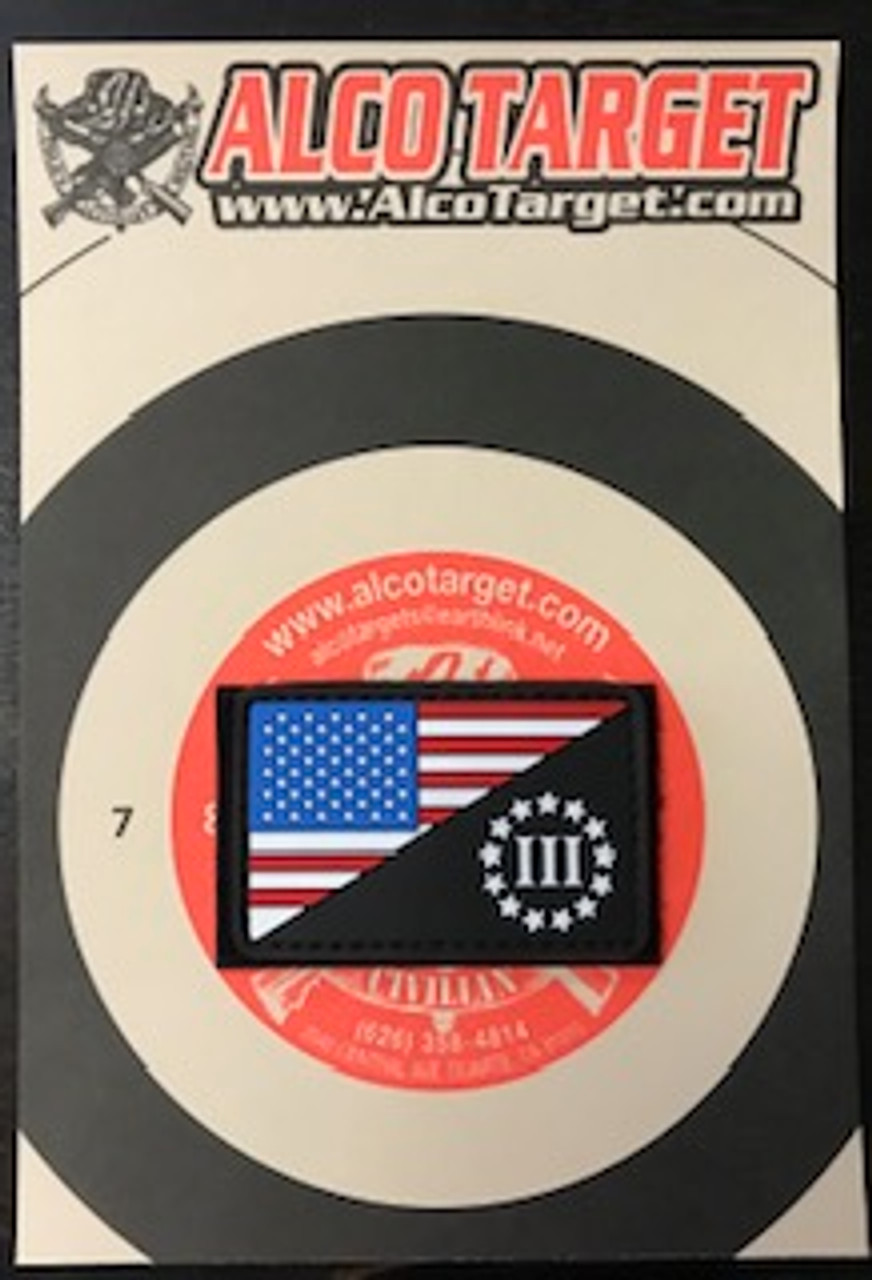 US FLAG MORALE PVC THREE PERCENTER PATCH