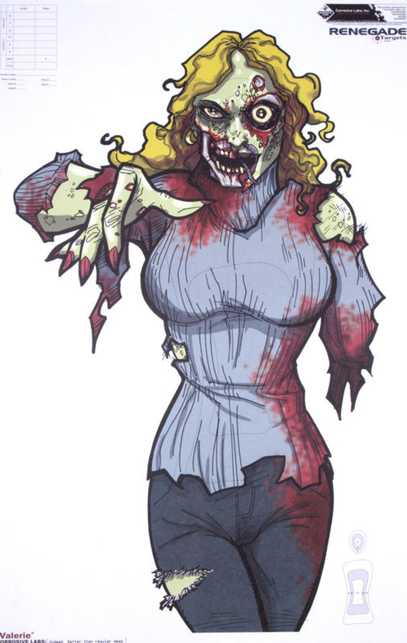 Zombie Valerie Illustrated Shooting Target