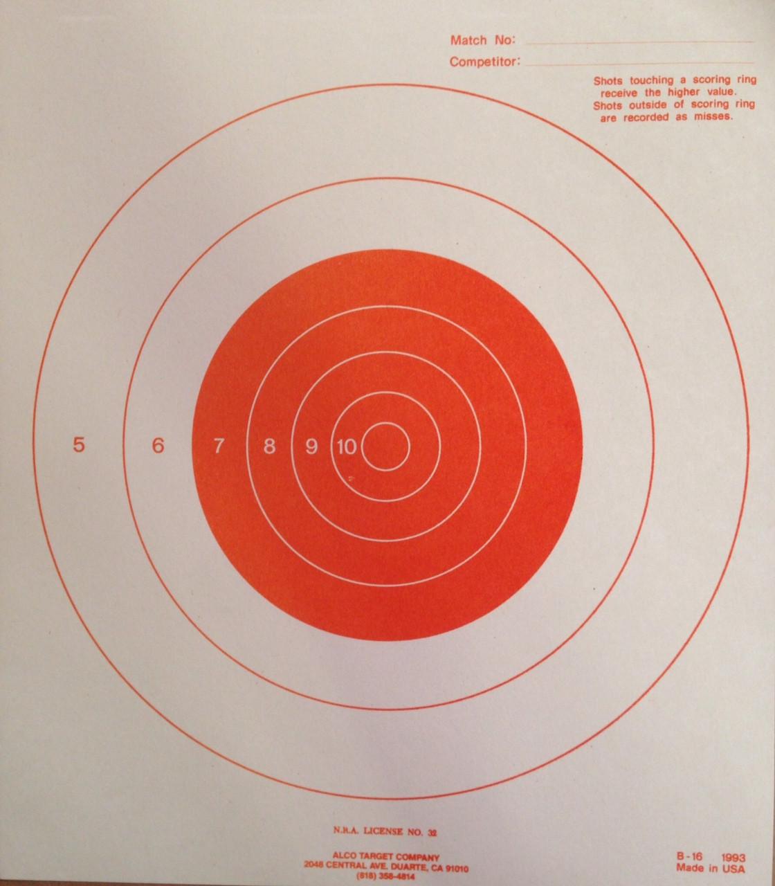 B-16FO Fluorescent Orange Shooting Target