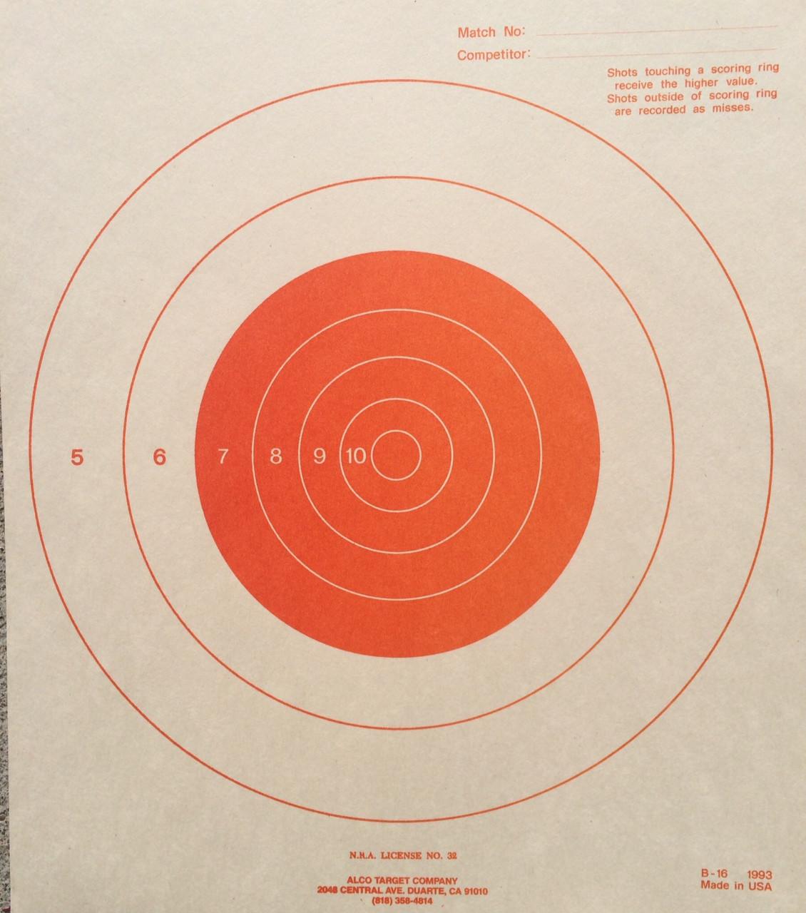 B-16O Orange Shooting Target