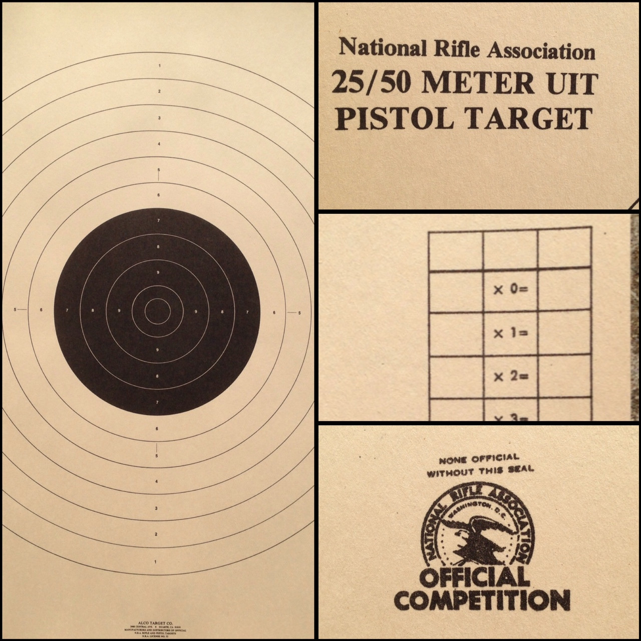 B-17 Pistol Shooting Target