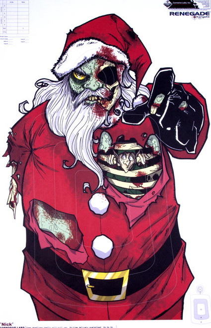 Zombie Santa Illustrated Shooting Target