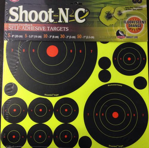 "Shoot-N-C 8"" 5.5"" 3"" 2"" 1"" Bull Reactive Shooting Target"