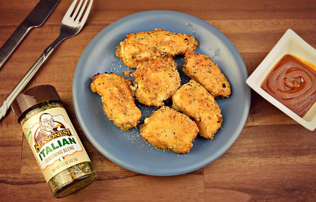 Garlic Parmesan Chicken Bites with Mozzarella Cheese