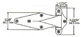 (D9-3) Kason 1071-40 Surface Mount Hinge 1-1/8 offset