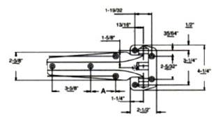(A9-8) Kason 1241 Hinge 1-1/8 offset