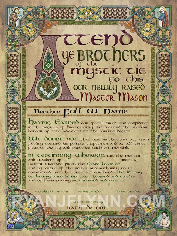 The Celtic Master Mason Patent