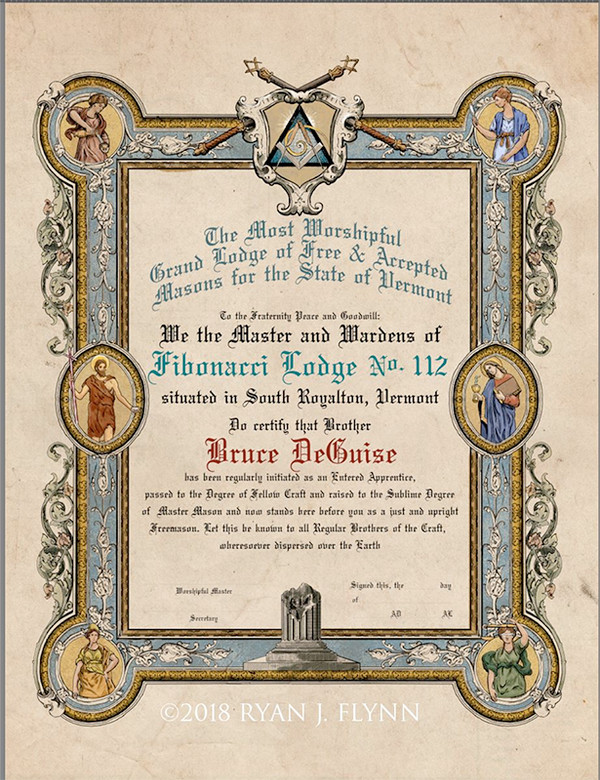 The Four Virtues Master Mason Patent, personalized for Fibonacci Lodge No.112. Note the customized seal at the top of the patent.