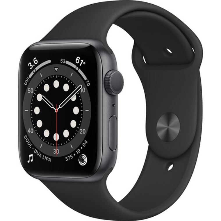 Apple Watch Series 6 (GPS) 44mm Space Gray Aluminium Case with Black Sport Band - September 2020