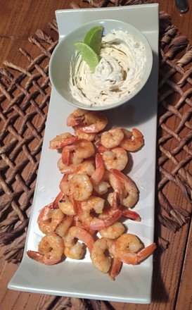 Prawns with Native Finger Lime Dip