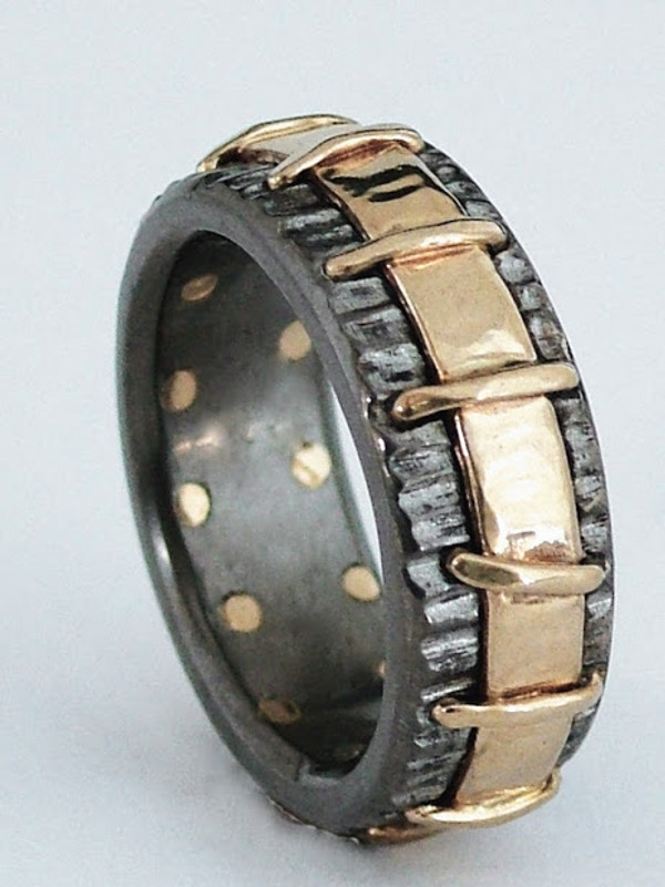 titanium band with 18K yellow gold