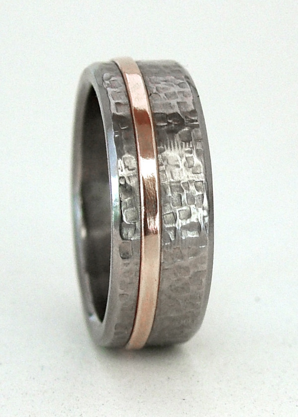 rosetta stone texture titanium ring with  gold inlay