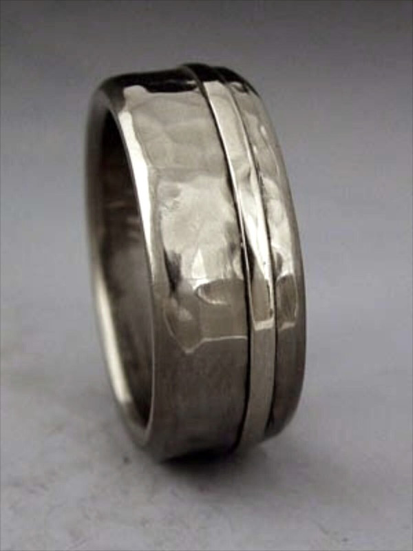 big hammer titanium ring with single gold inlay