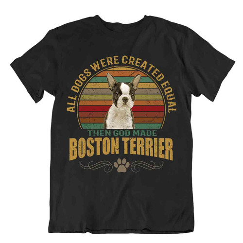 Boston Terrier Dog T-Shirt Cool Tshirt Gift For Dogs Pet Lovers Cute Present Fun