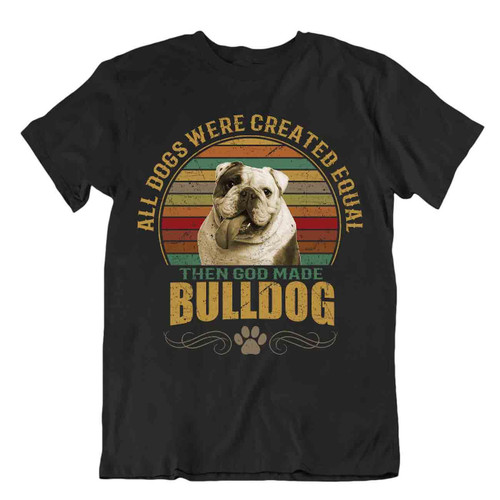 Bulldog Dog T-Shirt Gift For Dogs Pet Lovers Cute Vintage Canine Best Friend Fun