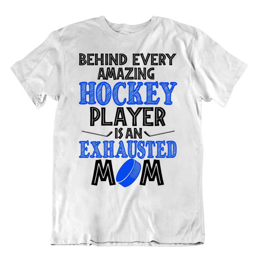 Hockey Sport T-Shirt Tee Cool Gift Cute Funny Classic Skates Goal Exhausted Mom