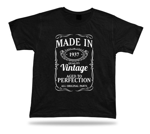 Printed T shirt tee Made in 1937 happy birthday present gift idea unisex