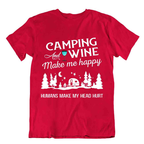 Camping Outside Trip T-Shirt Tee Cool Vintage Gift Cute Funny Outdoor Fresh Wine