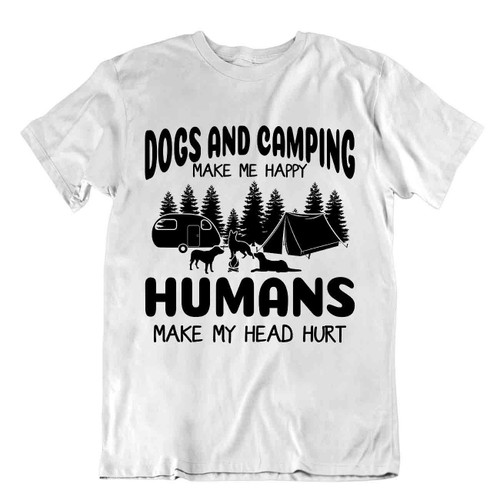 Camping Outside Trip Tshirt Tee Vintage Gift Cute Funny Outdoor Fresh Human Dogs