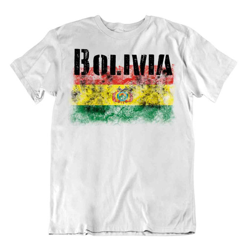 Bolivia flag Tshirt T-shirt Tee top city map Andean condor great special textile