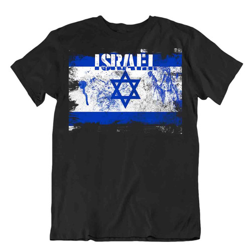 Israel flag Tshirt T-shirt Tee top city map hexagram zion star of david menorah