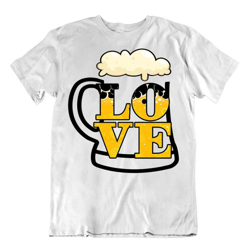 Love Beer T-Shirt Parody Drinking Humor Tee Realist Beer Glass Shirt Comic Joke