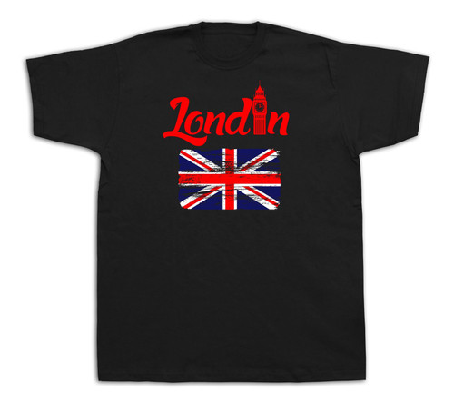 London Flag big ben tourist spots city sites red bus t shirt funny casual tee