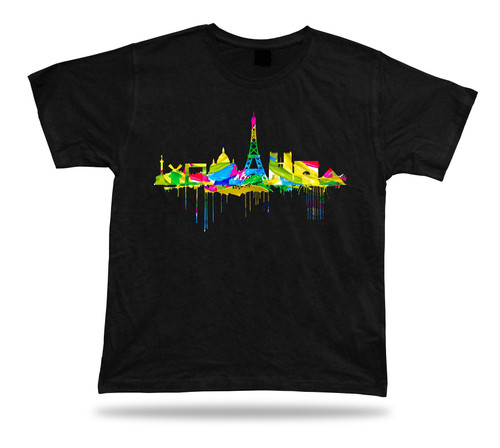 Art abstract vintage Tshirt painting Paris France skyline professionlly printed