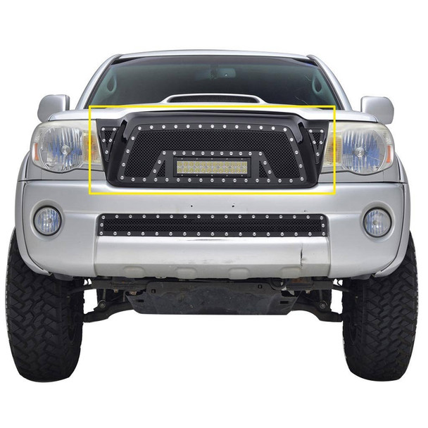 05-11 TACOMA ALL EVO ALL, BLACK SS WIRE MESH PACKAGED GRILLE W/ONE LED LIGHT