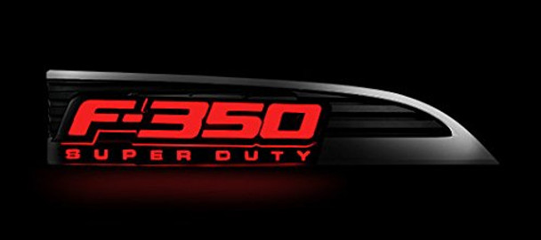 2011-2015 Ford F-350 Super Duty Fender Emblems Red Illuminated, Chrome Housing