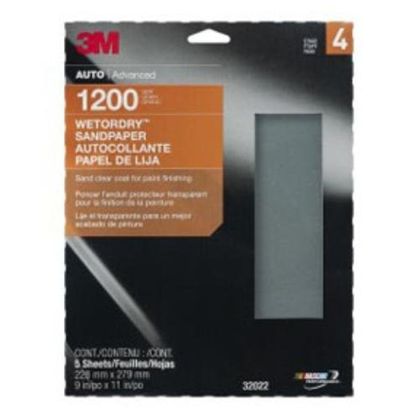 3M 32037 Job Packed Abrasives Imperial Wetordry Sheet, 9 X 11 in. P500, 5 Sheets per pack