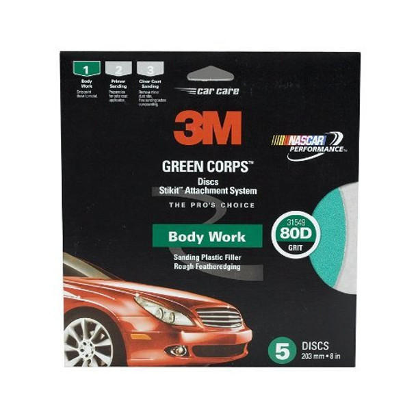 3M Stikit Green Corps Disc, 31549 , 8 in, 80 grit
