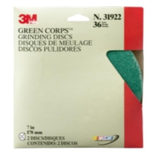 3M 31922 Job Packed Abrasives Green Corps Grinding Disc, 7 in. X 0.87 in. 36, 2 Discs per pack