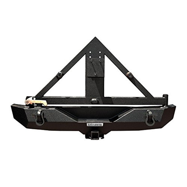 2007-2017 Fits Jeep Wrangler JK Rear Recovery Bumper With Tire Carrier & Receiver Hitch