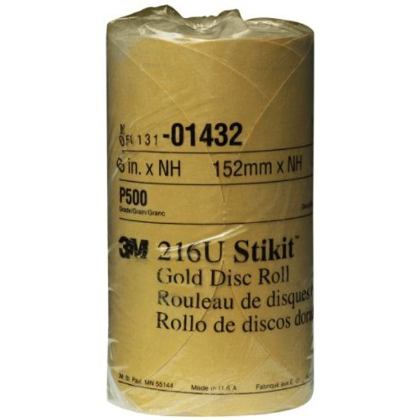 """3M 01432 Stikit Gold 6"""" P500A Grit Disc Roll"""